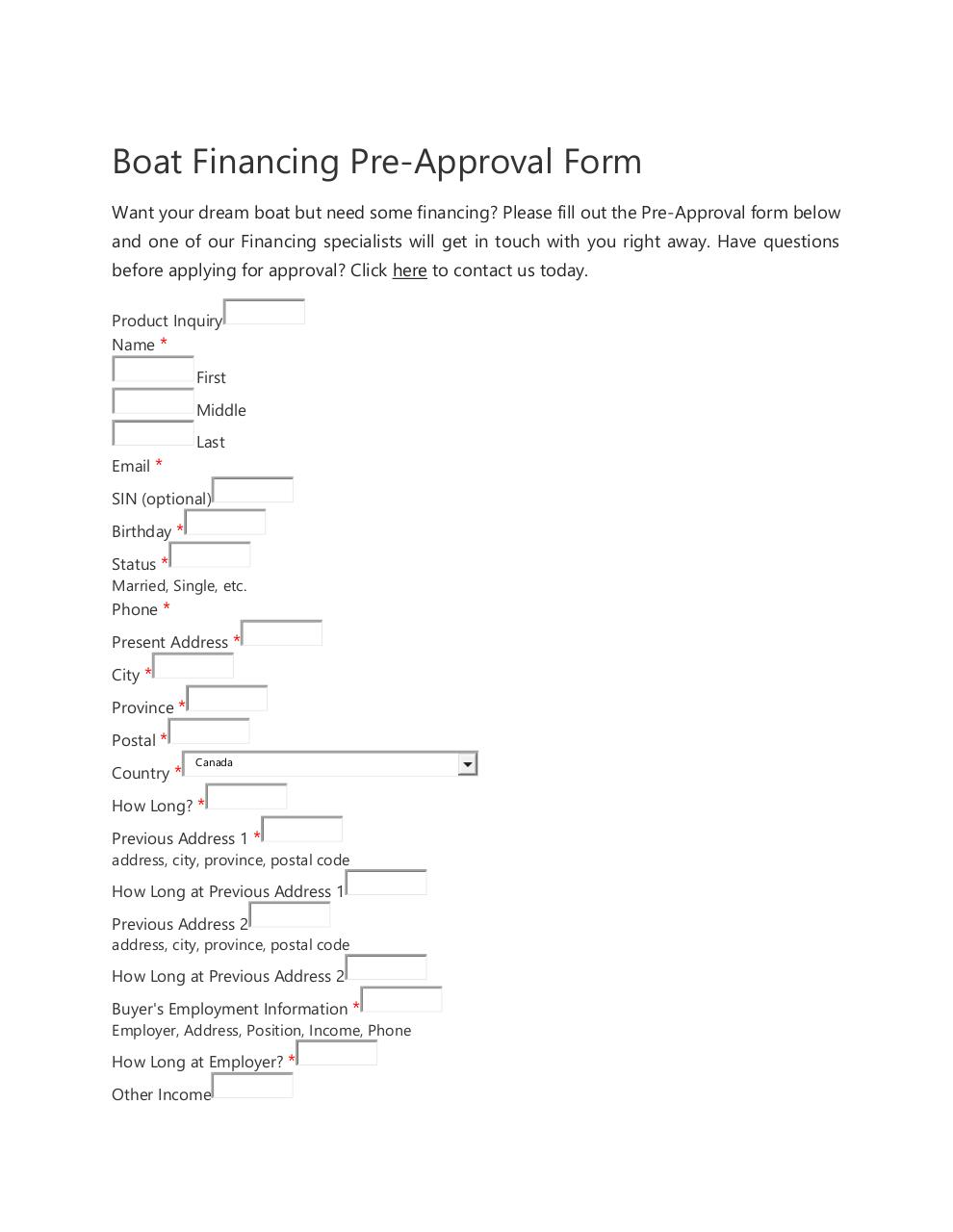 Document preview Barry Jay's Boat Financing Pre-Approval Form.pdf - page 1/3