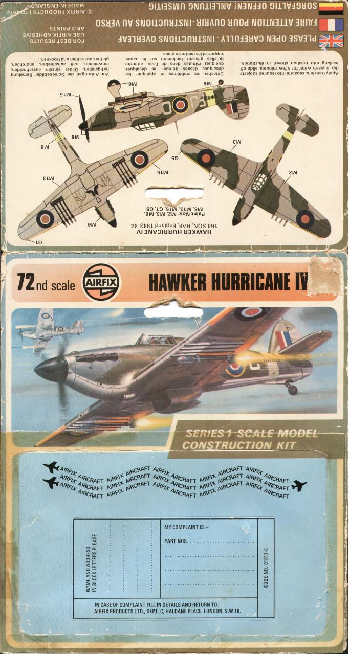 Document preview Airfix 72 Hawker Hurricane Mk.IV R.P. (01012-6).pdf - page 2/2