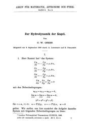 oseen c w zur hydrodynamik der kugel
