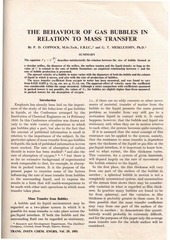 the behavior of gas bubbles in relation to mass transfer