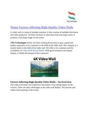 major factors affecting high quality video walls