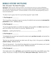 bible study outline and songsprintout