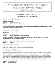 may 10j 2020 sunday liturgy