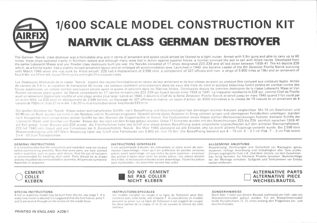 Airfix 600 Narvik Class German Destroyer (02205-9).pdf - page 1/5