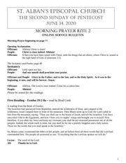 pentecost 2 june 14 2020