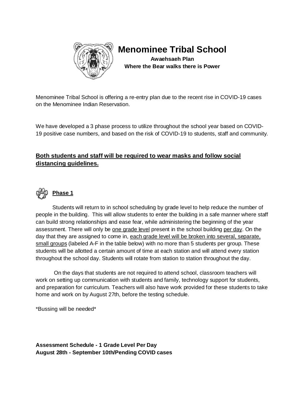 Document preview menominee tribal school reopening plan august 20 2020.pdf - page 1/4