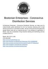 bostonian enterprises   coronavirus disinfection services