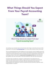what things should you expect from your payroll accounting team