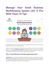 manage your small business bookkeeping system like a pro with th