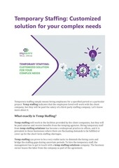 temporary staffing customized solution for your complex needs