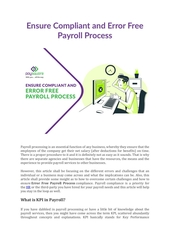 ensure compliant and error free payroll process