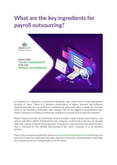 what are the key ingredients for payroll outsourcing